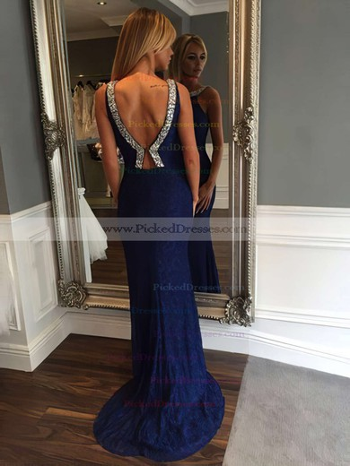 Sheath/Column Scoop Neck Sweep Train Lace Beading Prom Dresses #PDS020105784