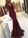 Trumpet/Mermaid V-neck Sweep Train Lace Prom Dresses #PDS020105788