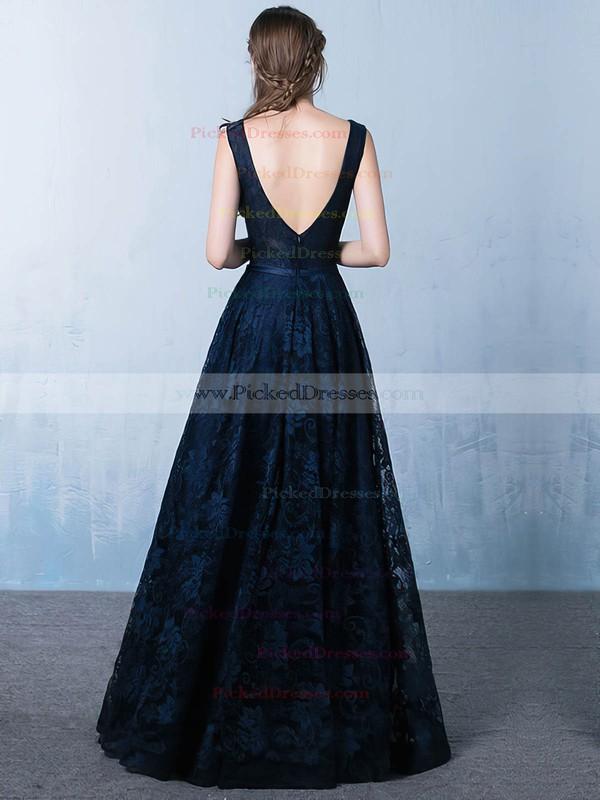 Princess V-neck Floor-length Lace Prom Dresses #PDS020105792