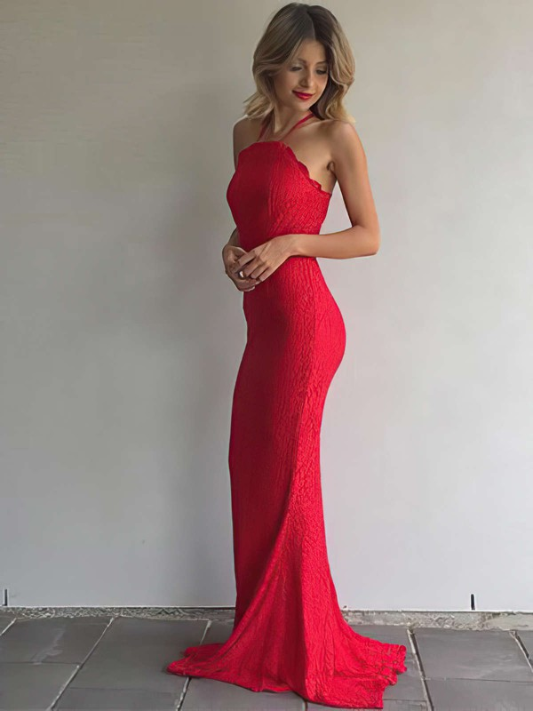 Sheath/Column Halter Sweep Train Lace Prom Dresses #PDS020105793