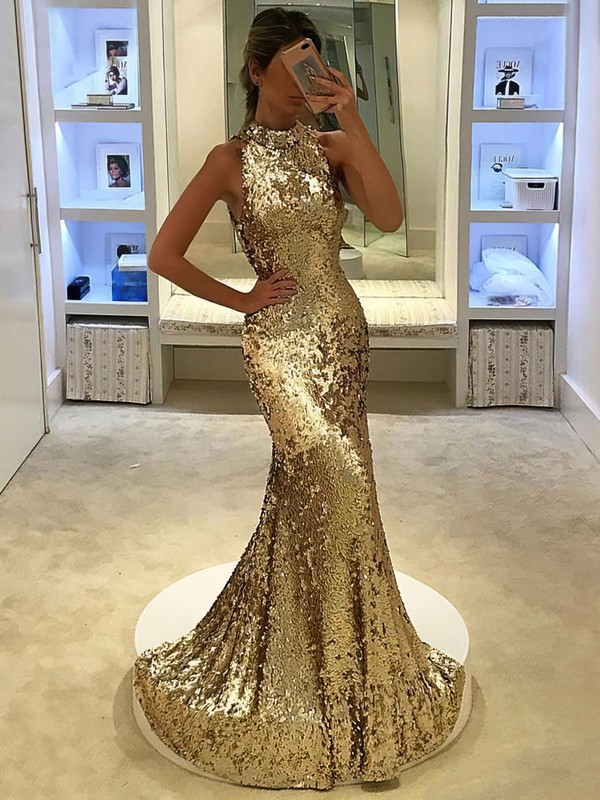 Trumpet/Mermaid High Neck Sweep Train Sequined Prom Dresses #PDS020105808