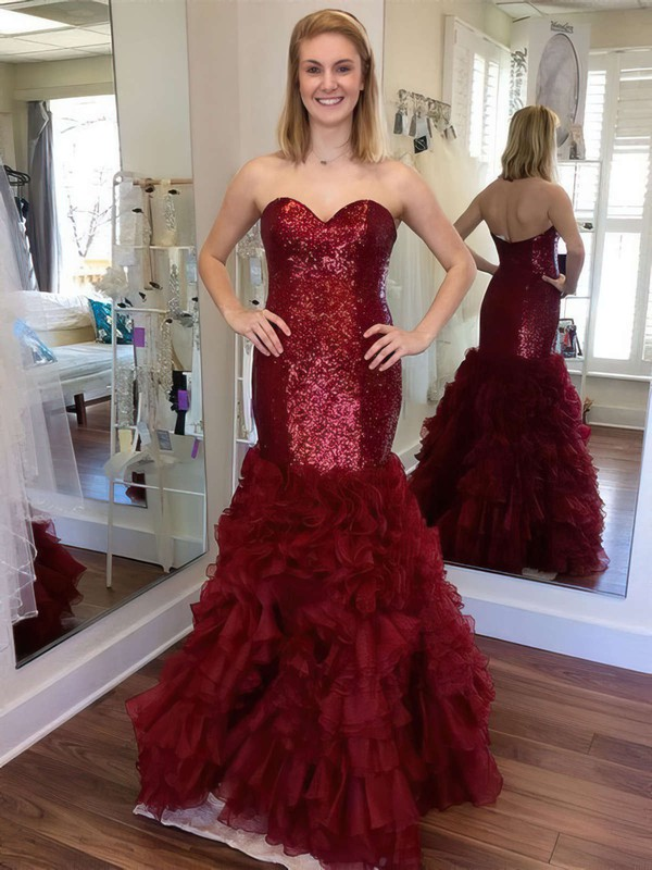 Trumpet/Mermaid Sweetheart Floor-length Organza Sequined Cascading Ruffles Prom Dresses #PDS020105810