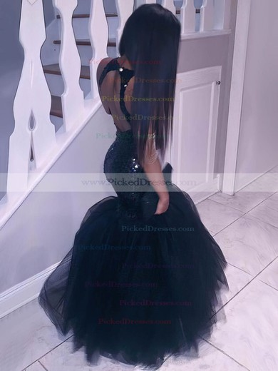 Trumpet/Mermaid Scoop Neck Floor-length Tulle Sequined Ruffles Prom Dresses #PDS020105812