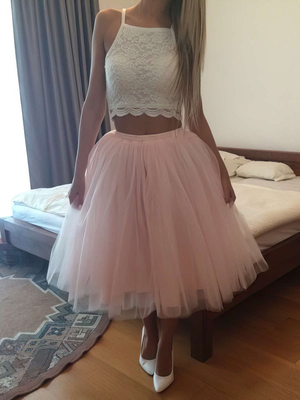 Ball Gown Square Neckline Tea-length Lace Tulle Ruffles Prom Dresses #PDS020105821