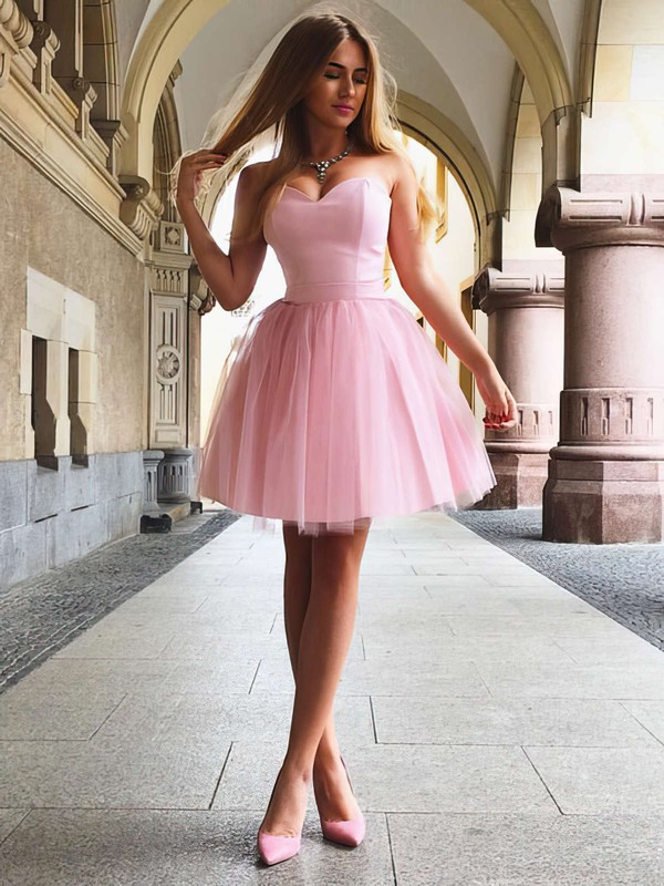 A-line Sweetheart Short/Mini Satin Ruffles Prom Dresses #PDS020105931