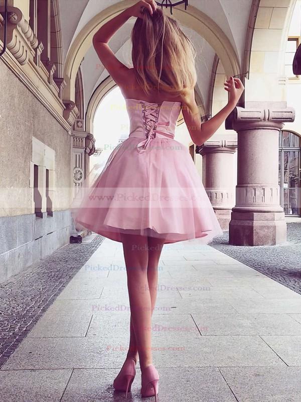 A-line Sweetheart Short/Mini Satin Ruffles Prom Dresses #PDS020105931