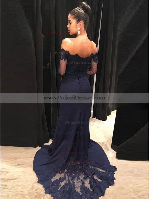 Sheath/Column Strapless Sweep Train Lace Prom Dresses #PDS020105935