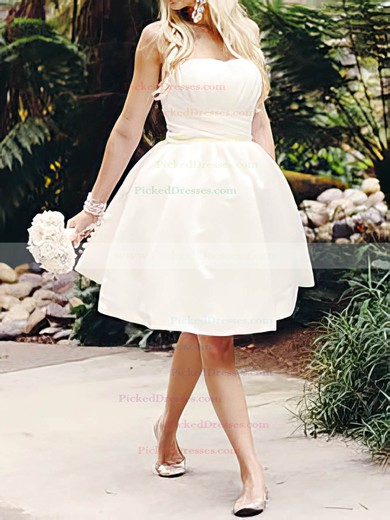 Knee-length White Satin Ruffles Lace-up Online Ball Gown Wedding Dress #PDS00020516