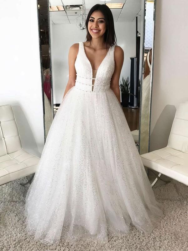 A-line V-neck Floor-length Tulle Beading Prom Dresses #PDS020105936