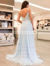 A-line V-neck Sweep Train Chiffon Beading Prom Dresses #PDS020105938