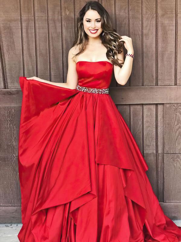 A-line Strapless Floor-length Taffeta Prom Dresses #PDS020105941