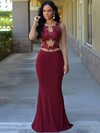 Trumpet/Mermaid Scoop Neck Floor-length Jersey Draped Prom Dresses #PDS020105949