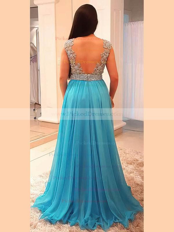 A-line V-neck Floor-length Chiffon Beading Prom Dresses #PDS020105958