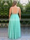 A-line V-neck Floor-length Chiffon Beading Prom Dresses #PDS020105959