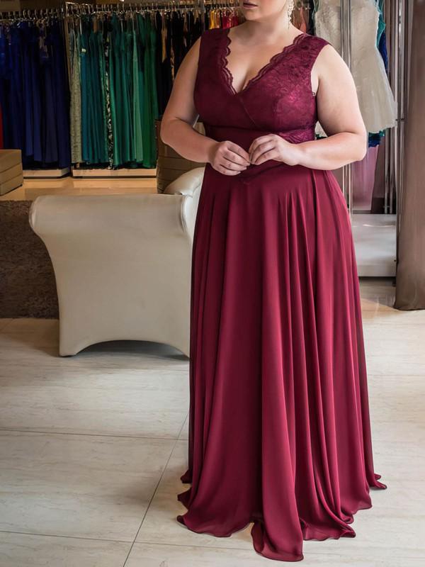 A-line V-neck Floor-length Chiffon Lace Prom Dresses #PDS020105975