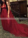 A-line Halter Sweep Train Satin Tulle Ruffles Prom Dresses #PDS020106001
