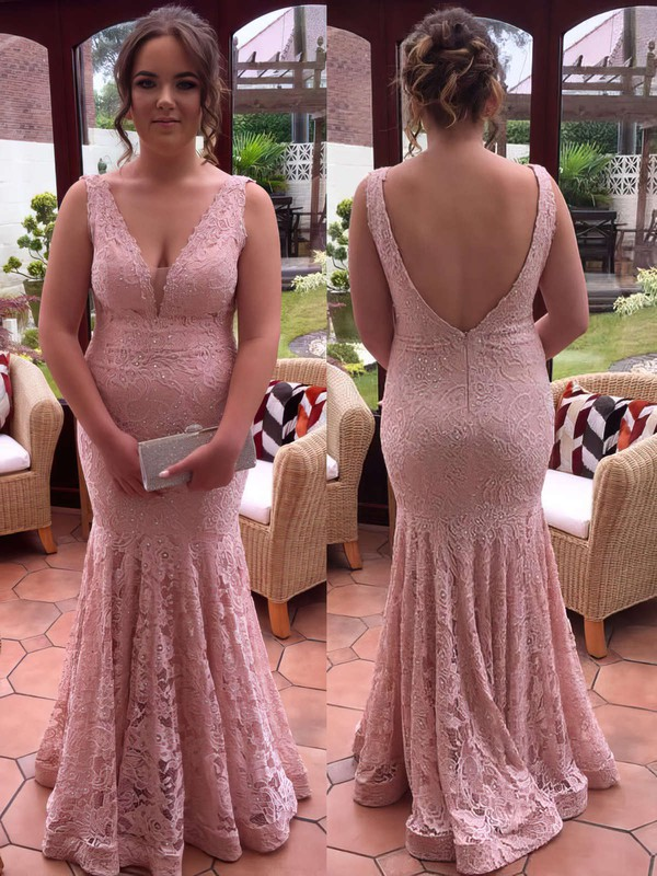 Trumpet/Mermaid V-neck Floor-length Lace Lace Prom Dresses #PDS020106019