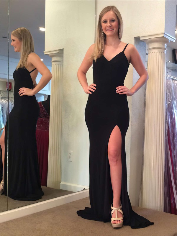 Sheath/Column V-neck Sweep Train Jersey Split Front Prom Dresses #PDS020106032