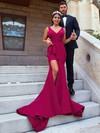 Trumpet/Mermaid V-neck Sweep Train Split Front Prom Dresses #PDS020106033