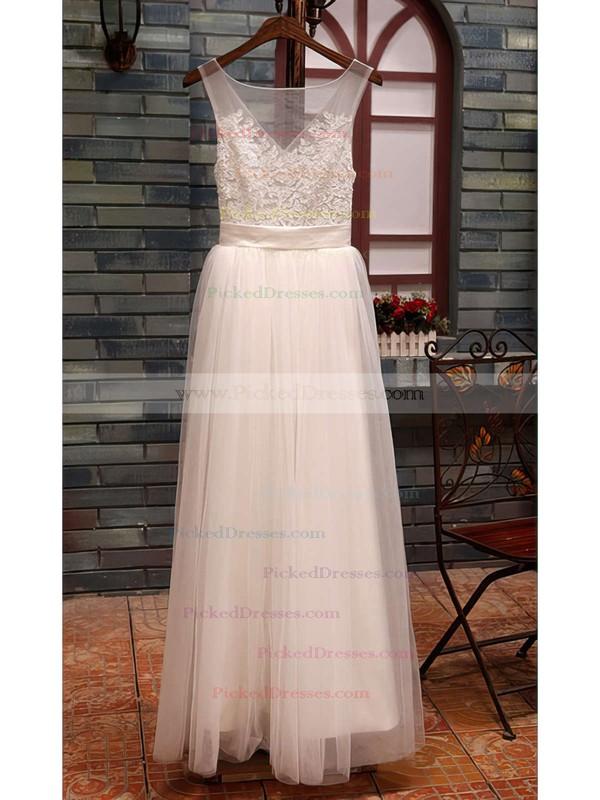 White Tulle Scoop Neck Appliques Lace Floor-length Coolest Wedding Dresses #PDS00020518