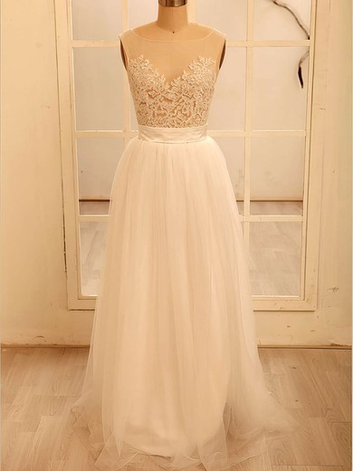 White Tulle Scoop Neck Appliques Lace Floor-length Coolest Wedding Dresses #PDS00020518