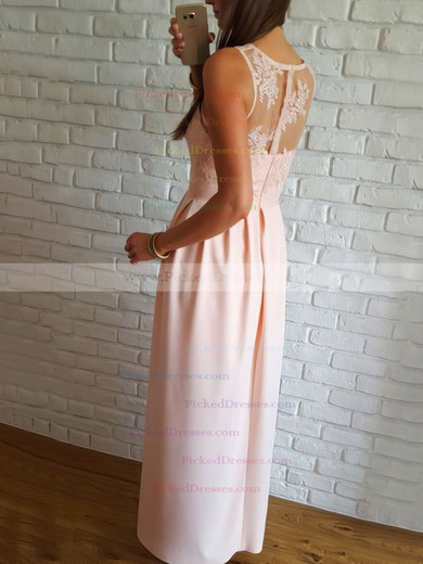 A-line V-neck Floor-length Lace Split Front Prom Dresses #PDS020106037