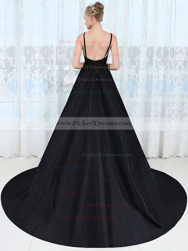 Princess V-neck Sweep Train Satin Ruffles Prom Dresses #PDS020106043