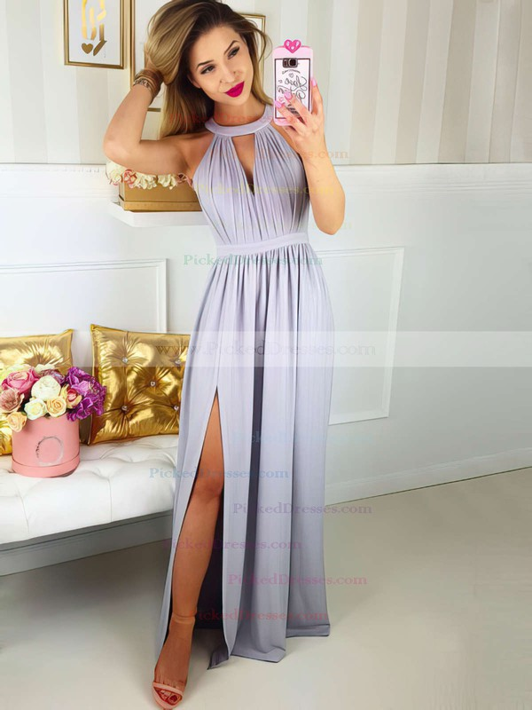 A-line Scoop Neck Floor-length Lace Chiffon Split Front Prom Dresses #PDS020106044