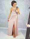 A-line Scoop Neck Floor-length Lace Chiffon Split Front Prom Dresses #PDS020106044