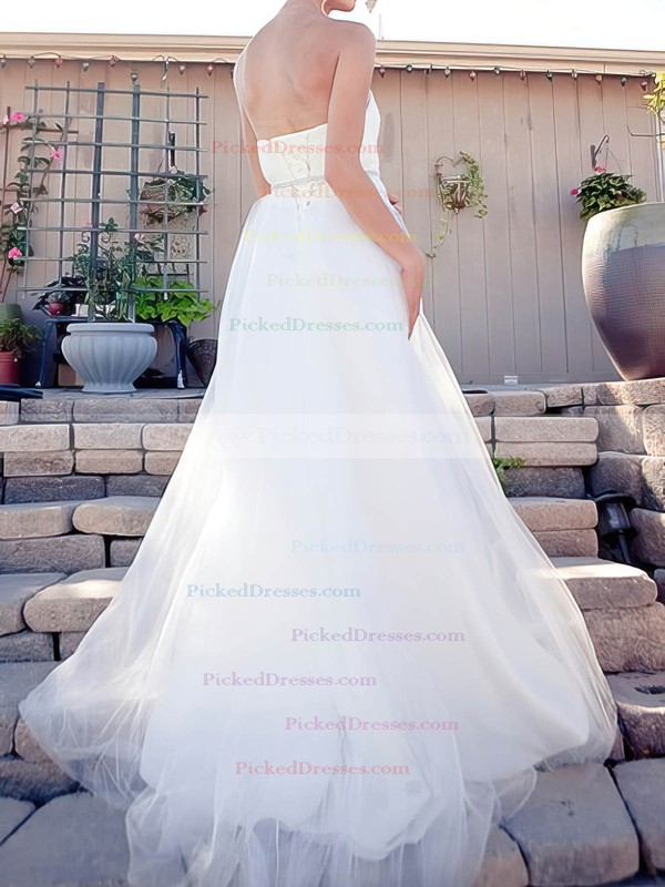 Sweep Train Sweetheart White Tulle Sashes/Ribbon Lace-up Perfect Wedding Dress #PDS00020519