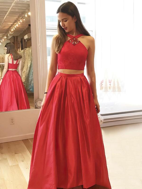Princess V-neck Floor-length Satin Lace Prom Dresses #PDS020106048