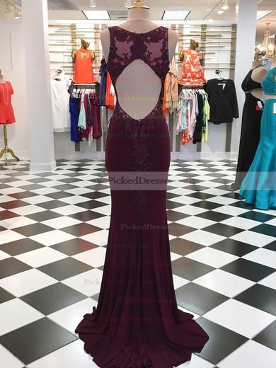 Sheath/Column V-neck Sweep Train Jersey Appliques Lace Prom Dresses #PDS020106049