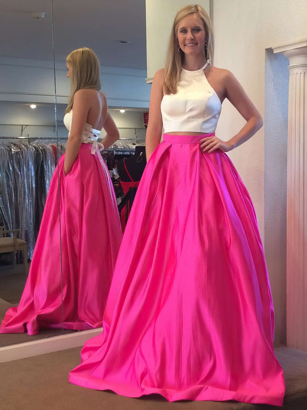 Ball Gown Halter Sweep Train Satin Pockets Prom Dresses #PDS020106051
