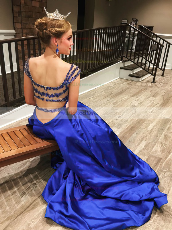 Princess V-neck Sweep Train Satin Tulle Beading Prom Dresses #PDS020106052