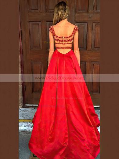 Princess V-neck Sweep Train Satin Tulle Beading Prom Dresses #PDS020106052