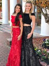 Trumpet/Mermaid Off-the-shoulder Floor-length Satin Lace Prom Dresses #PDS020106058