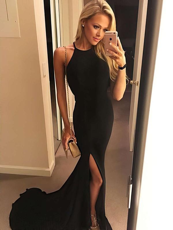 Sheath/Column Halter Floor-length Jersey Split Front Prom Dresses #PDS020106060