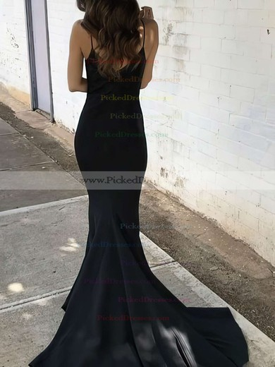 Trumpet/Mermaid V-neck Sweep Train Satin Ruffles Prom Dresses #PDS020106061