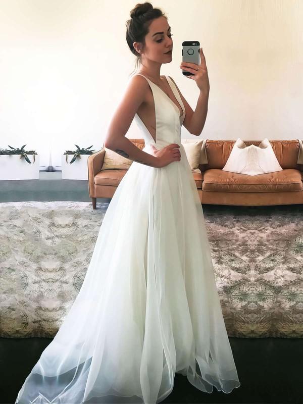 A-line V-neck Floor-length Tulle Ruffles Prom Dresses #PDS020106062