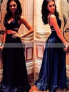 A-line V-neck Floor-length Satin Ruffles Prom Dresses #PDS020106063