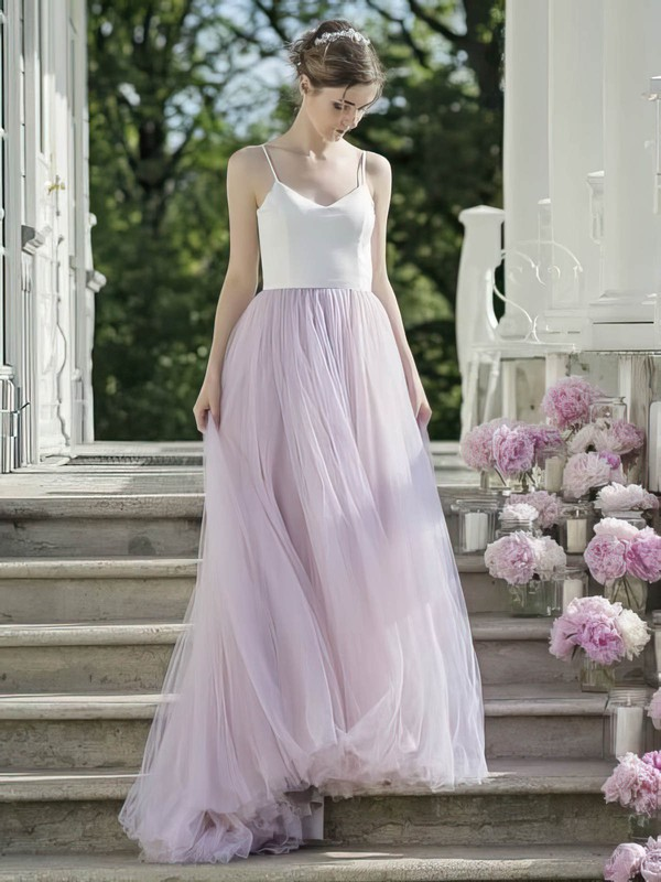 A-line Sweetheart Sweep Train Tulle Pleats Prom Dresses #PDS020106064
