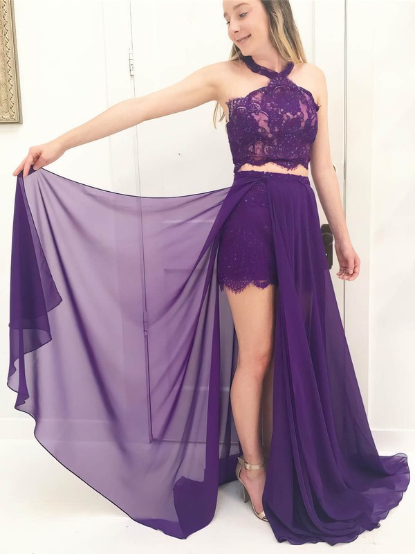 A-line Halter Floor-length Chiffon Lace Prom Dresses #PDS020106066