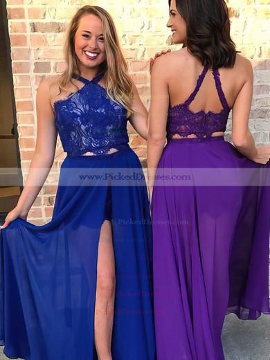 A-line Halter Floor-length Chiffon Lace Prom Dresses #PDS020106066