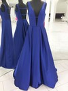 A-line V-neck Floor-length Satin Ruffles Prom Dresses #PDS020106067