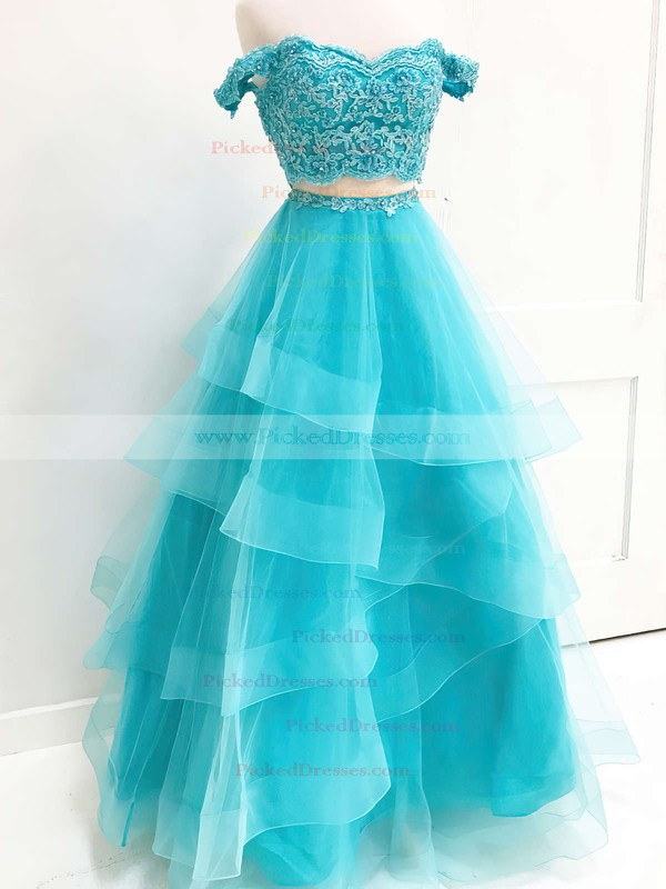 A-line Sweetheart Floor-length Lace Organza Lace Prom Dresses #PDS020106068
