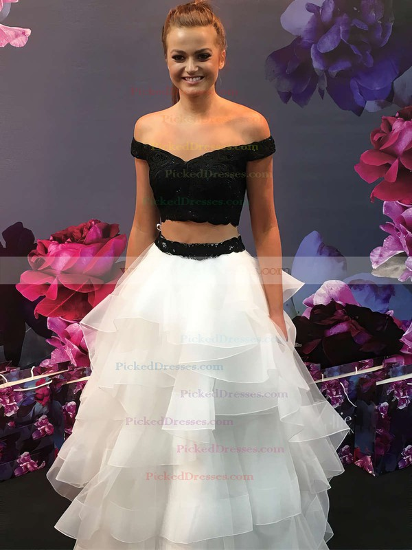 Princess Off-the-shoulder Floor-length Lace Organza Lace Prom Dresses #PDS020106069