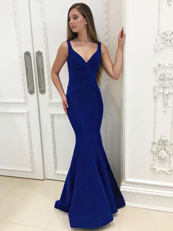 Trumpet/Mermaid V-neck Floor-length Velvet Ruffles Prom Dresses #PDS020106073