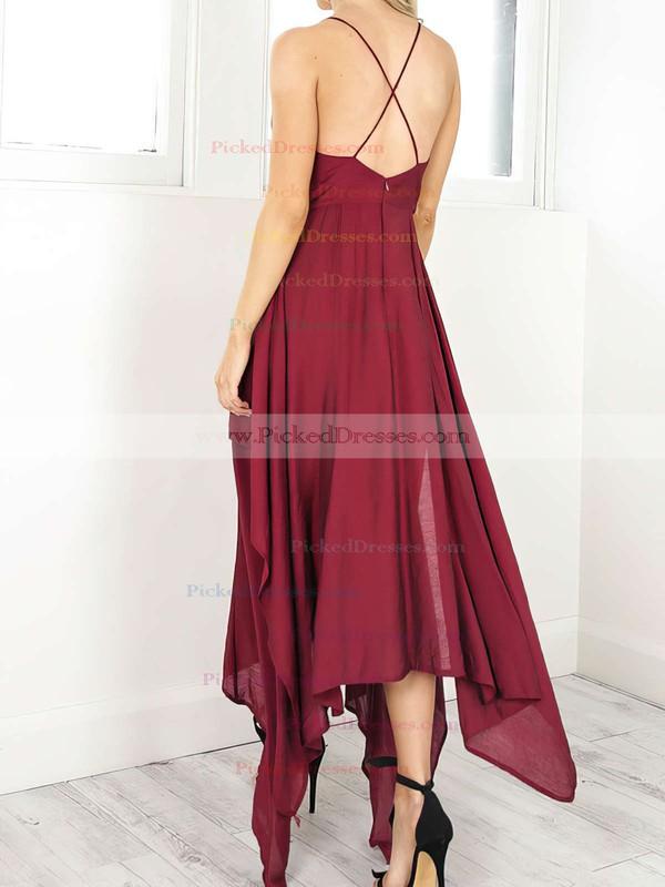 A-line V-neck Asymmetrical Chiffon Split Front Prom Dresses #PDS020106076