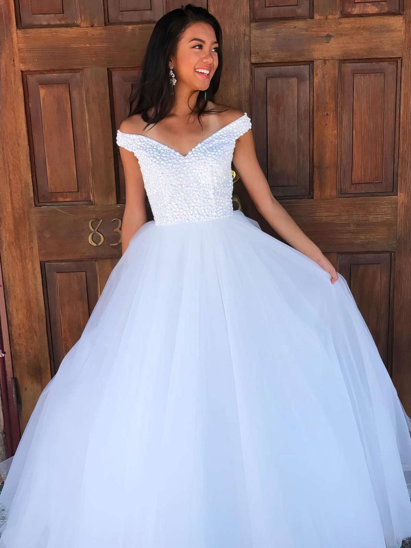 Ball Gown Off-the-shoulder Floor-length Tulle Beading Prom Dresses #PDS020106082
