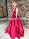 Ball Gown V-neck Floor-length Satin Beading Prom Dresses #PDS020106085
